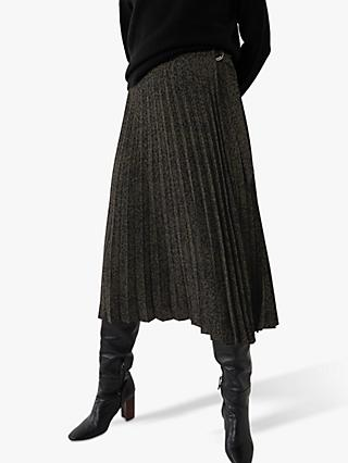 Warehouse Ink Spot Pleated Midi Skirt, Khaki