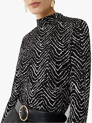 Warehouse Funnel Neck Chevron Top, Black