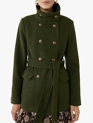 Warehouse Military Funnel Neck Coat, Khaki