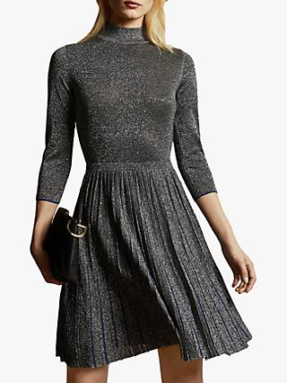 Ted Baker Noaleen High Neck Mini Knitted Dress, Gunmetal