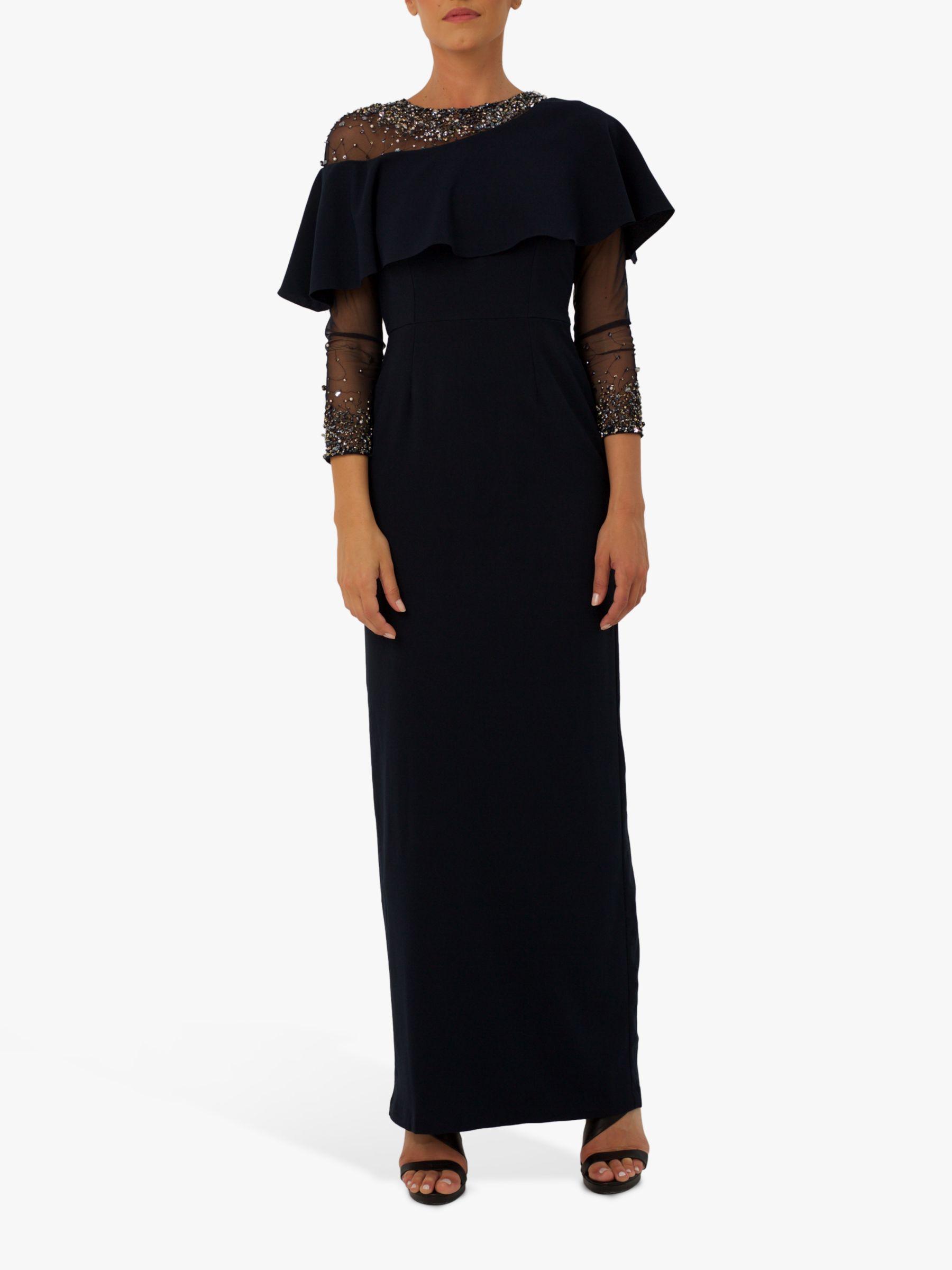 RAISHMA Raishma Quinn Bead Embellishment Ruffle Detail Gown, Navy
