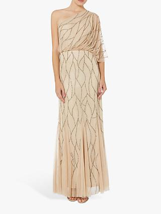 Raishma Embellished One Shoulder Dress, Champagne