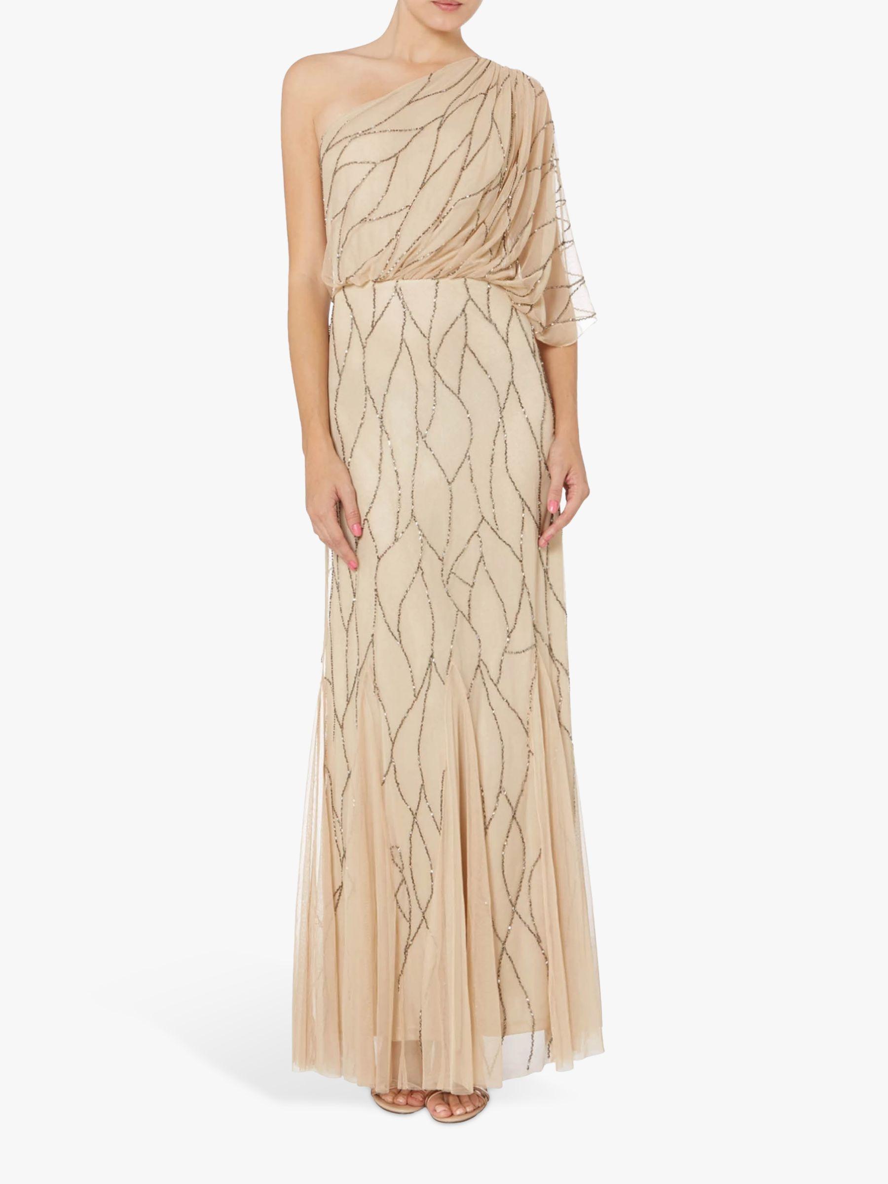 RAISHMA Raishma Embellished One Shoulder Dress, Champagne