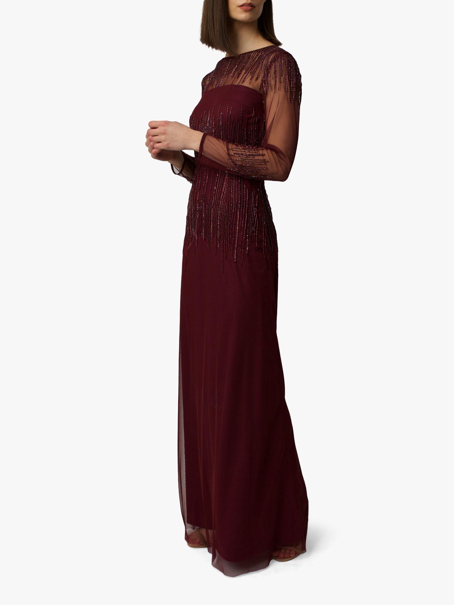 RAISHMA Raishma Laurel Bead Embellishment Gown, Burgundy