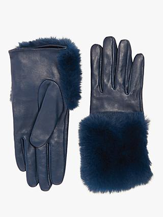 Jigsaw Leather Faux Fur Gloves, Navy