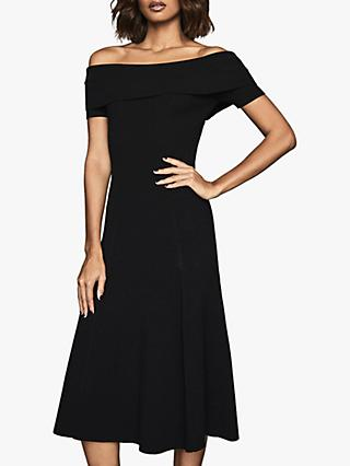 Reiss Melissa Bateau Neck Midi Dress, Black