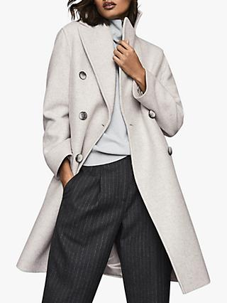 Reiss Alyx Double Breasted Coat, Grey Melange
