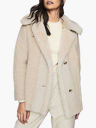 Reiss Kora Wool Blend Textured Coat, Neutral