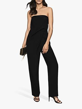 Reiss Toni Satin Trimmed Bandeau Jumpsuit, Black