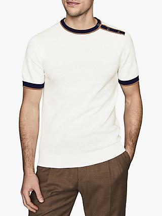 Reiss Hardy Popper Crew Neck T-Shirt, White