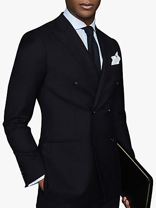 Reiss Villa Double Breasted Hopsack Wool Slim Fit Suit Jacket, Navy