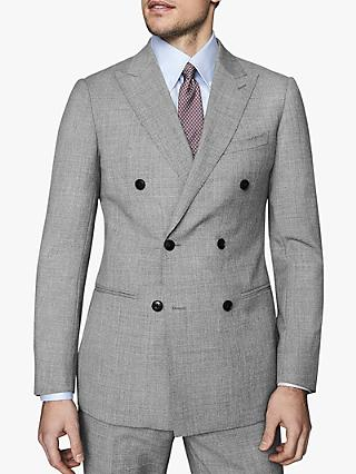 Reiss Villa Double Breasted Hopsack Wool Slim Fit Suit Jacket, Soft Grey
