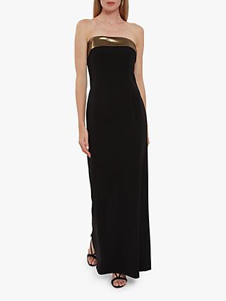 Gina Bacconi Lilium Crepe Maxi Dress, Black/Bronze
