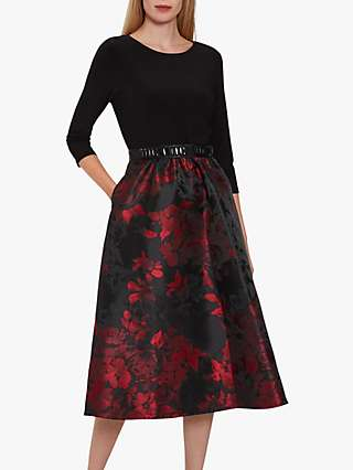 Gina Bacconi Jette Floral Jacquard Dress, Black/Red