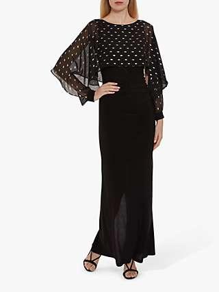 Gina Bacconi Lenina Overcape Jersery Maxi Dress, Black
