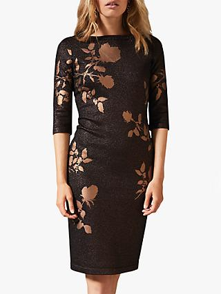 Phase Eight Farah Floral Foil Sparkle Dress, Black/Gold
