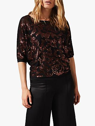 Phase Eight Sakina Sequin Smudge Knit, Bronze