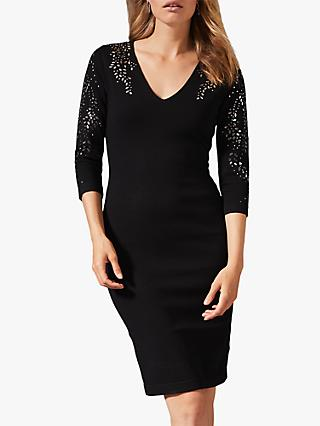 Phase Eight Madlyn Mirror Bodycon Dress, Black