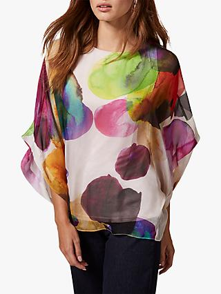 Phase Eight Emiko Silk Blouse, Ivory/Multi