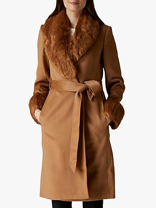Jaeger Faux Fur Collar & Cuff Wool Coat