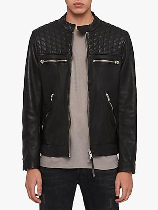 AllSaints Amersham Leather Biker Jacket, Black