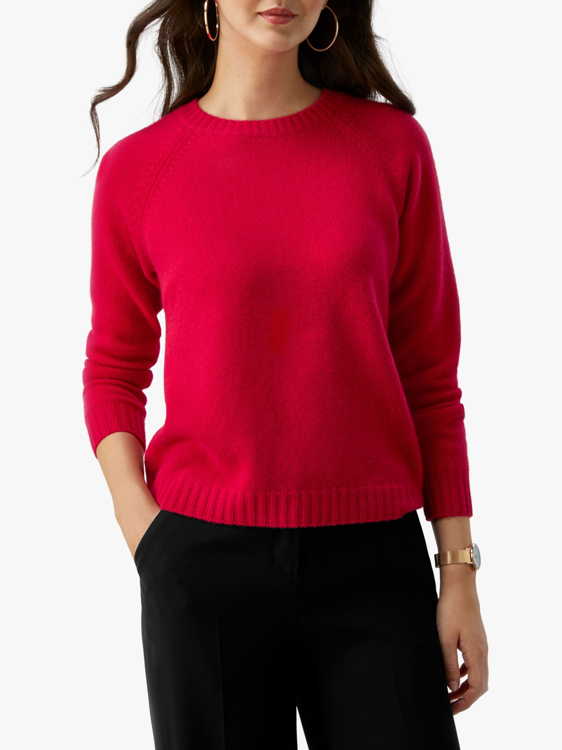 Pure Collection Pure Collection Lofty Gassato Cashmere Sweatshirt, Pillarbox Red