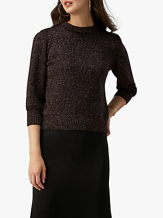 Pure Collection Crew Sparkle Sweater, Black