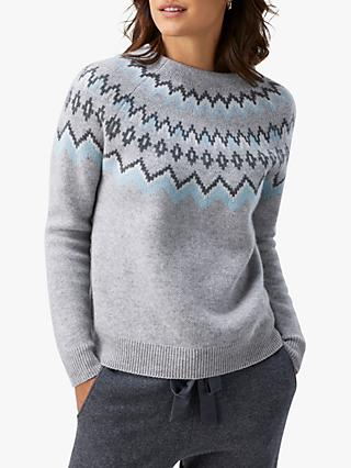 Pure Collection Fairisle Sweater, Grey