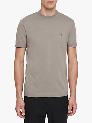 AllSaints Parlour Short Sleeve Crew Neck T-Shirt, Cement Grey