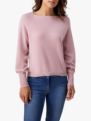 Pure Collection Organic Cashmere Square Neck Sweater, Dusty Pink