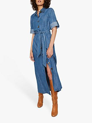 Warehouse Denim Maxi Shirt Dress, Mid Wash