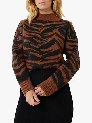 Warehouse Cosy Zebra Jumper, Choc