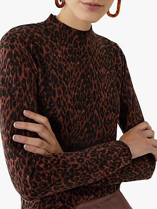 Warehouse Animal Print Funnel Neck Jumper