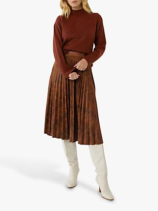 Warehouse Funnel Button Neck Jumper, Brown