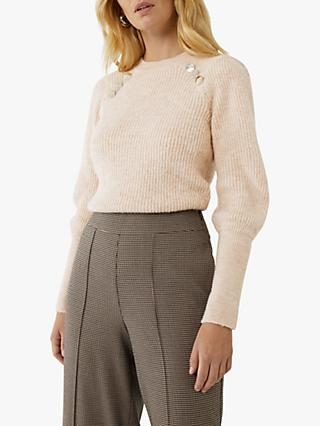 Warehouse Button Puff Sleeve Knit Jumper, Ecru