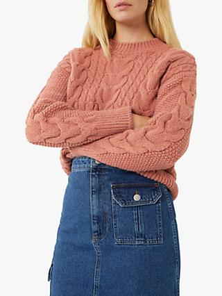 Warehouse Big Cable Knit Jumper, Light Pink