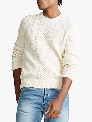 Polo Ralph Lauren Fisherman Knit Cotton Sweater, Anover Cream