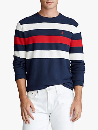 Polo Ralph Lauren Stripe Cotton Sweater, Newport Blue/Polo Red/White