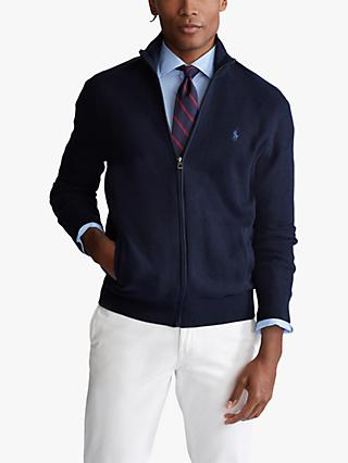 Polo Ralph Lauren Cotton Mesh Full Zip Sweater, Navy Heather
