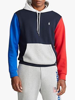 Polo Ralph Lauren Colour Block Hoodie, Aviator Navy