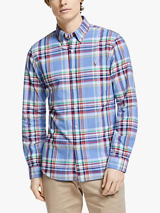 Polo Ralph Lauren Check Cotton Oxford Shirt, Blue/Red