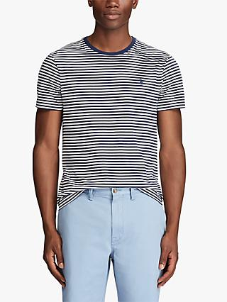 Polo Ralph Lauren Stripe Crew Neck T-Shirt, White/Newport Navy