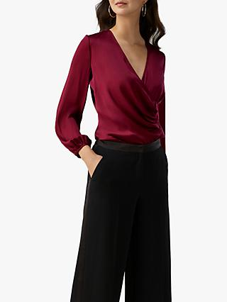 Pure Collection Silk Wrap Blouse, Deep Claret