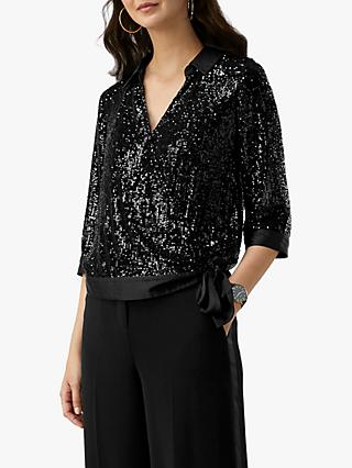 Pure Collection Sequin Wrap Blouse, Black