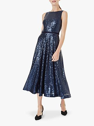 Hobbs Carly Sequin Velvet Band Midi Dress, Midnight