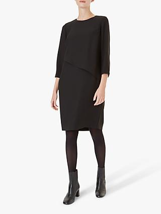 Hobbs Carole Asymmetric Layered Shift Dress, Black