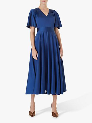 Hobbs Angelina Satin Dress, Regal Blue
