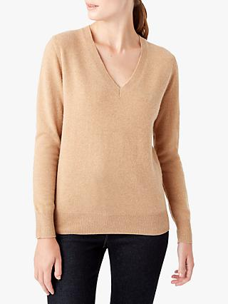 Hobbs Bella V-Neck Jumper, Camel