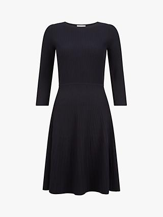 Hobbs Kath Rib Knit Skater Dress, Navy