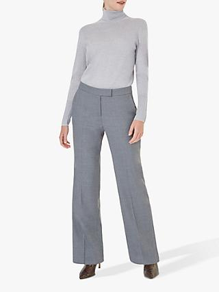 Hobbs Addison Wide Leg Trousers, Grey Melange